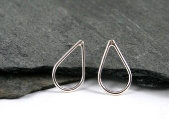 Small Sterling Silver Teardrop or Rain Drop Stud Earrings Gift under 30