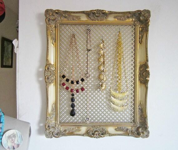 Custom Jewelry Display Frame: Jewelry Holder Display Upcycled Vintage Ornate Frame GOLD