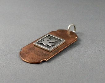 Gift for dad idea. Copper dogtag with silver maple leaf. Mens necklace. Mens jewelry. Gift for him