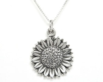 Sunflower Sterling Silver Floral Flower Nature Charm Pendant Customize no. 1931
