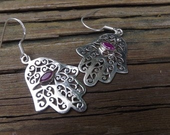 Ruby or Mystic Topaz Hamsa filigree earrings -sterling silver - Kabbalah -Talisman - Middle East - Fatima Hand - Good Luck - Protection
