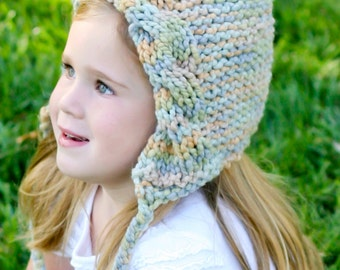 Cabled Woodland Bonnet - Knitting PATTERN - pdf format for  toddler, child, teen and adult