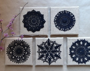 Wall Art, Black Doily, Home Decor, Crocheted Lace, Handmade, Burlap, Wall Decor, Collectible, Black