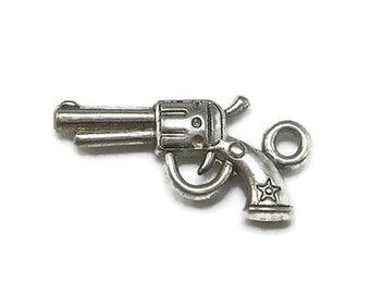 50 Gun Charms Silver Tone pistol hand gun charms (EB-S252)