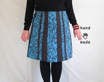 SALE - Sixy Skirt - plus size 20 / 22 - turquoise, black, faux snakeskin print cotton, pieced stripes - aline, knee length skirt -- 42W-52H