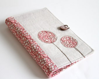 Notepad Holder Organizer, List Taker - Pink Flowers and Linen