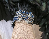 Edwardian Ruched Lace top with unusual blue stones on the buttons