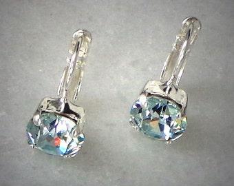 Glittering Austrian crystal light azore 8mm fancy round stone drop earrings,soft light blue,shiny silver plated, fabulous looking jewellery
