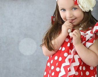 Girls Red Polka Dot Dress- Red Dress- Back to School Dress- First Day of School Dress- Girls School Outfit- Party Dress- Birthday Dress