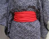 "Vintage Japanese Cotton Woman's Summer Yukata Kimono Robe ""Peace, Baby"""