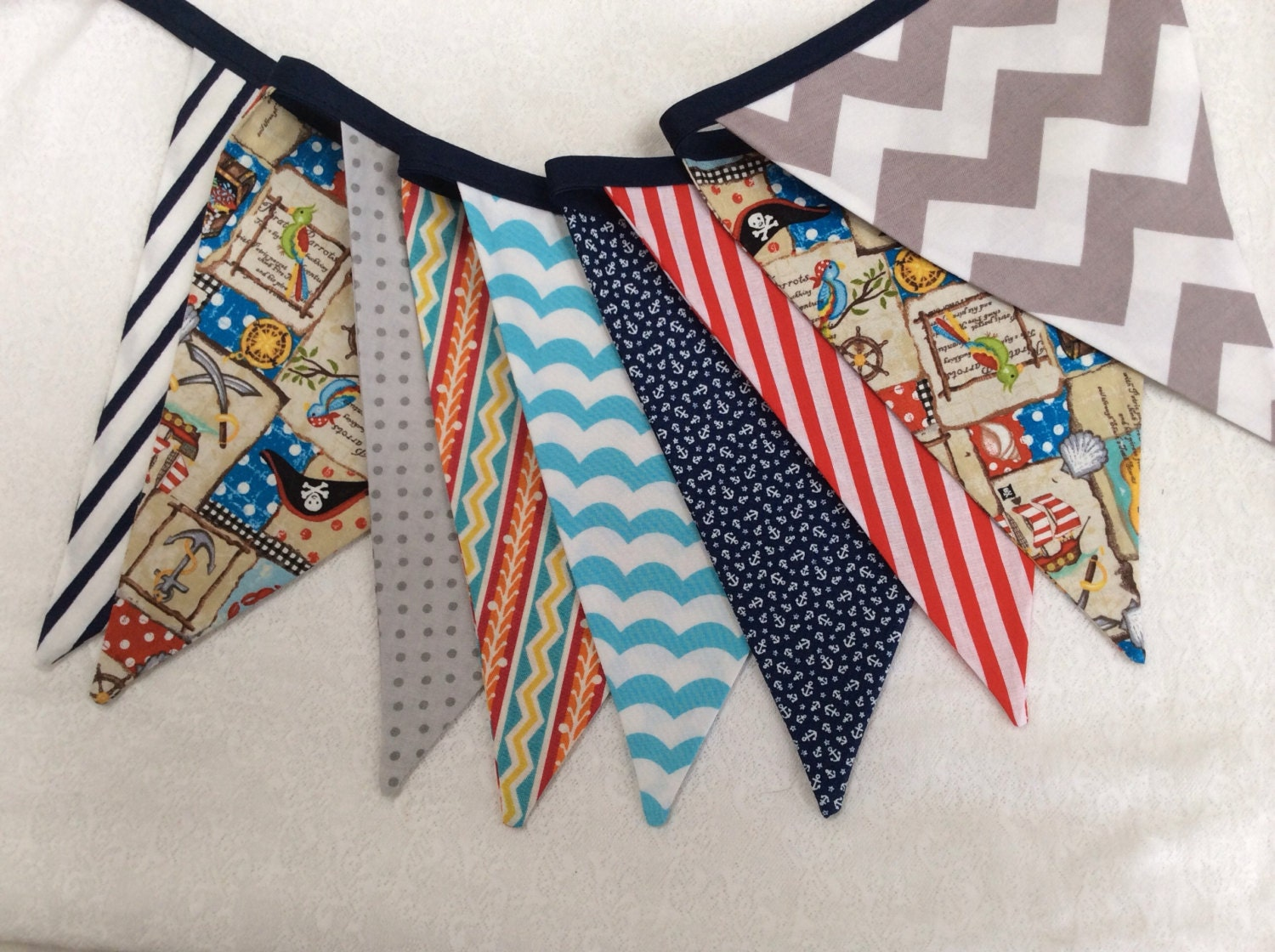 Pirate Themed Bunting. Boy Fabric Party by StarlitNestGifts
