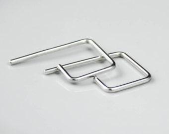 Small Minimalist Silver Square Threader Hoop Earring, Geometric Jewelry, Simple Earring