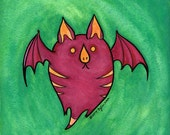 Leaf-nosed Beet Bat - Feeping Creatures monster gouache painting