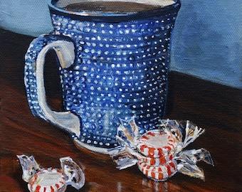 Polish Pottery mug ,coffee still life art print,  blue kichen decor, kitchen art, original painting reproduction, Heather Sims,  mat option