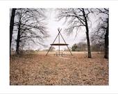 Original Fine Art Photograph / Print / Photography, Landscape, Mid Century Modern, Vintage, Film, Americana, Forest Abandoned Teepee Fall