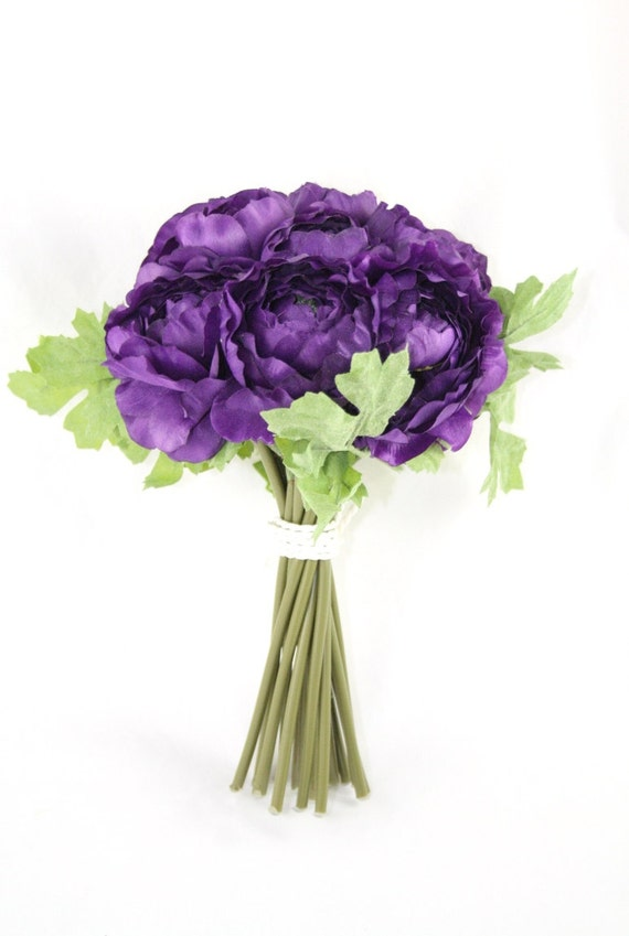 Purple ranunculus bouquet artificial flower