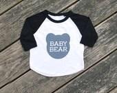 Baby Bear Infant Raglan Sleeve Baseball TShirt - Black with Gray Print
