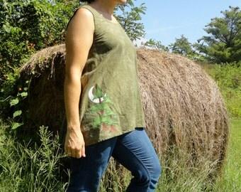 Redwood tree and moon Women's tunic hemp and organic cotton