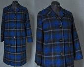 vintage 60s Pendleton blue plaid skirt suit L XL