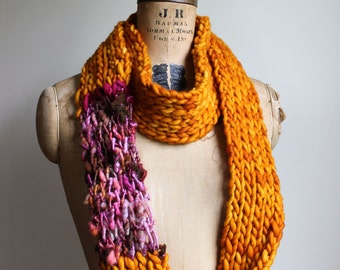 SALE! Knit loop infinity scarf. Amber. Pink. Orange. Brown. Circle scarf. Warm scarf. Butterscotch. Handmade knitwear.