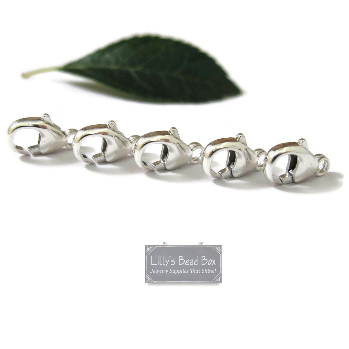 Silver Clasp, Medium Sterling Silver 11mm Lobster Claws, Set of 5, Silver Findings, Jewelry ...