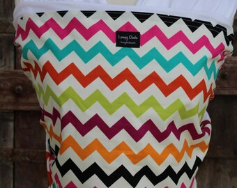 ORGANIC COTTON Baby Wrap Sling Carrier-Rainbow Chevron on White-DVD Included-One Size Fits All-Newborn -Toddler