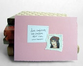 Love comfortheth like sunshine after rain. Pale pink card with handwritten quote and Turkish postal stamp