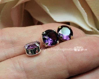 Alexandrite 8.5mm Color Change, Lab Grown, Lab Created Faceted Gemstone, Your Choice Solid SS Plated Setting Jewelry Supply June Birthstone