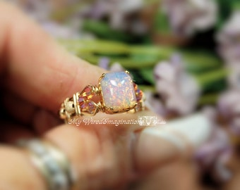 Pink Opal Ring Vintage West German Octagon Pink Opal Glass Wire Wrapped Ring Original Signature Design Fine Jewelry October Birthstone