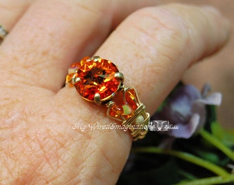 Tangerine Swarovski Crystal Hand Crafted Wire Wrapped Ring Original Signature Design Fine Jewelry