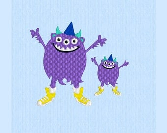 3-Eyed Monster Smiling - machine embroidery design file in two sizes