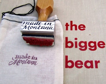 Made in Montana Wooden Hand Stamp, Calligraphy Stamp, Shop Local, DIY Packaging Stamp, Big Sky Country Rubber Stamp