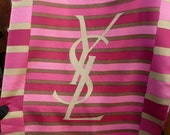Vintage Authentic pink gold YSL logo letters silk scarf