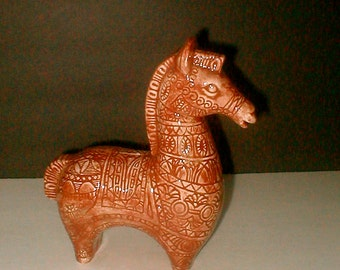 Modern Horse Brown Ceramic Decorated Mid Century Animal Figurine Chic Set Decor Vintage 1970s