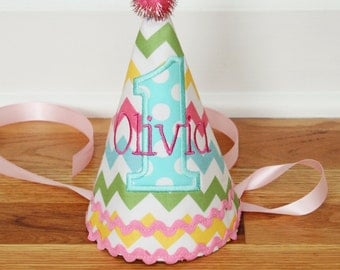 Girl First Birthday Hat - Chevron in pink, green, aqua, and yellow  - Michael Miller