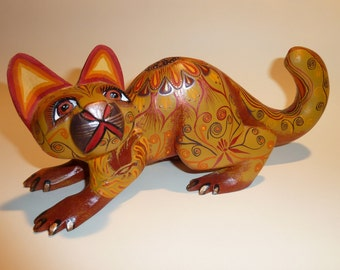 Golden Cat Oaxacan Woodcarving by Zeny Fuentes and Reyna