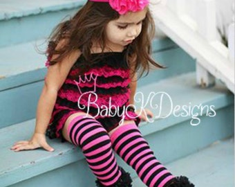 Halloween Candy Stripes Hot Pink n Black Ruffle Legwarmers. Baby Leg Warmers.Girls Halloween / Goth Monster High Halloween Legwarmers