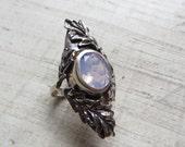 Lavender Moon Quartz and Bronze- The Oak Leaf Ring