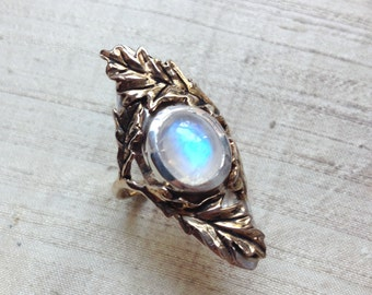 The Oak Leaf Ring- Rainbow Moonstone with Bronze and Sterling Silver