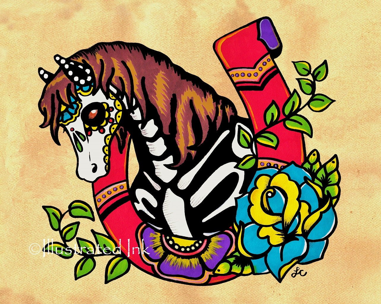 day of the dead horse old school tattoo horseshoe art print 8