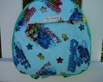 My Carrie Baby/Toddler Backpack made with Thomas the Train Fabric