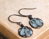 Rustic Metal Disc Drop Earrings, Verdigris Metal Dangle Earrings, Organic, Weathered Metal Earrings, Copper Earrings