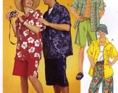 Dads Bermuda shirt shorts hat sewing pattern Mens Teens Womens Summer wear in two sizes McCalls 2745 Sz XLG to XXL Uncut