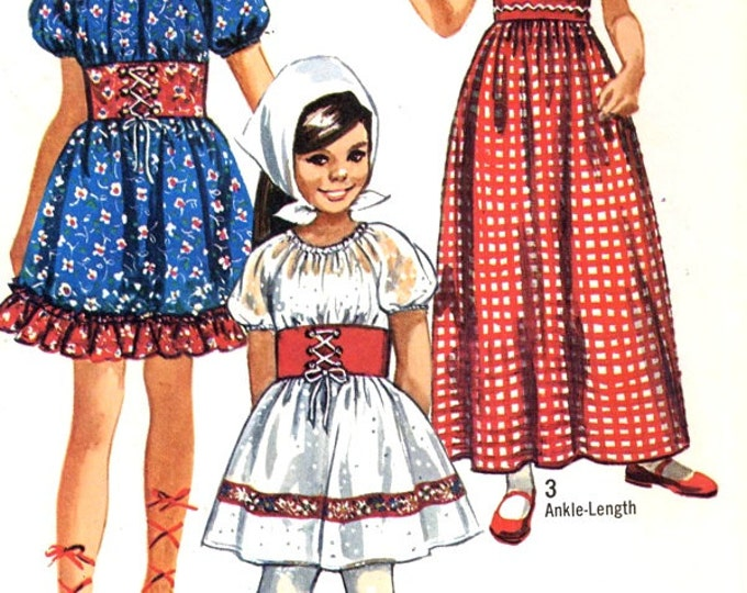 Girls boho dress 70s peasant dress Little Heidi style dress Octoberfest vintage sewing pattern Simplicity 9244 Sz 8