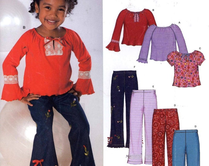 Girls boho pattern Peasant top flared pants Sewing pattern New Look 6337 Sz 3 to 8 UNCUT