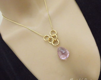 39ct Pink Amethyst Untreated-10k Gold Hoop Pendant Necklace