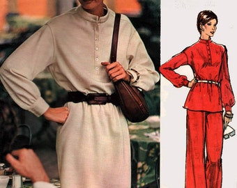 1970s Blouson Dress, Tunic and Pants Vogue 2990 AMERICANA ANNE KLEIN Womens Vintage 70s Sewing Pattern Size 12