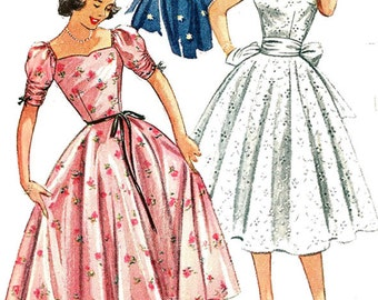 1950s Party Dress Simplicity 4186 ROCKABILLY 50s Vintage Sewing Pattern Size 13 Bust 31 UNCUT