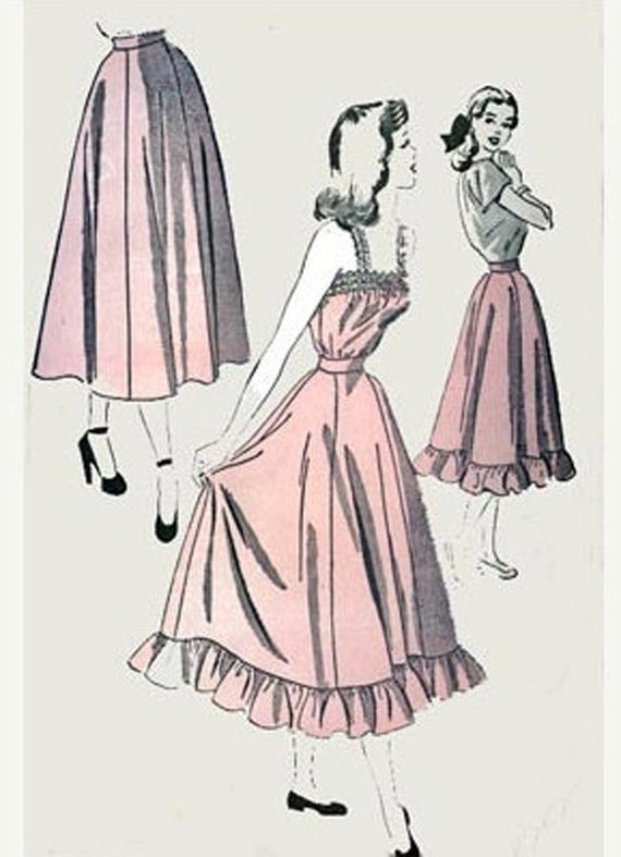 1940s Vintage Sewing Pattern Advance 4849 SWEET Camisole Petticoat with Ruffles and Skirt Size 16 Bust 33