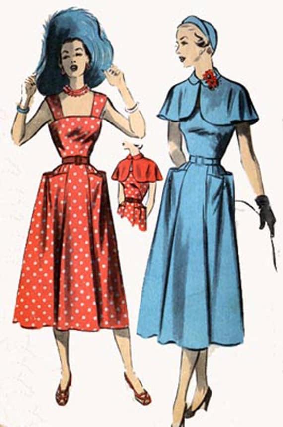 1940s Advance 5511 STUNNING Drop Shoulder Straps SUNDRESS with CAPLET 1940s Vintage Sewing Pattern Size 18 Bust 36 Hip 39